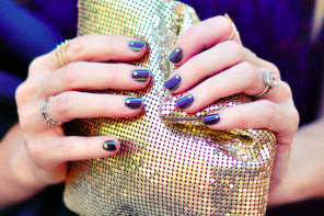 Fall Manicure // Jeweled Serpent Nails // Gold + Purple + Green