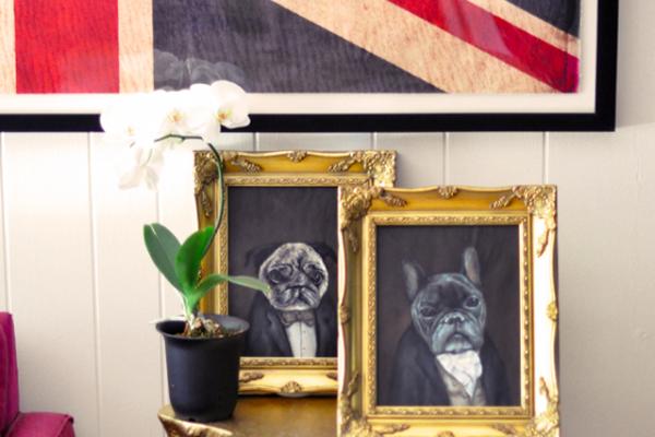 Custom Victorian Pet Portraits in Gold Frames by Luke Jervis