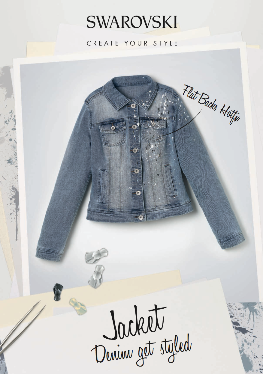 Denim Jacket DIY Splatter paint and stones