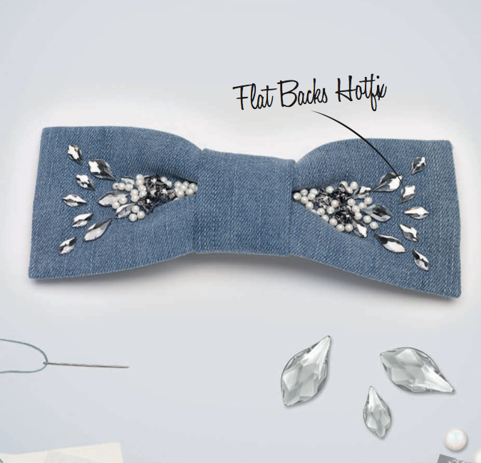 DIY Denim Crystals hair bow