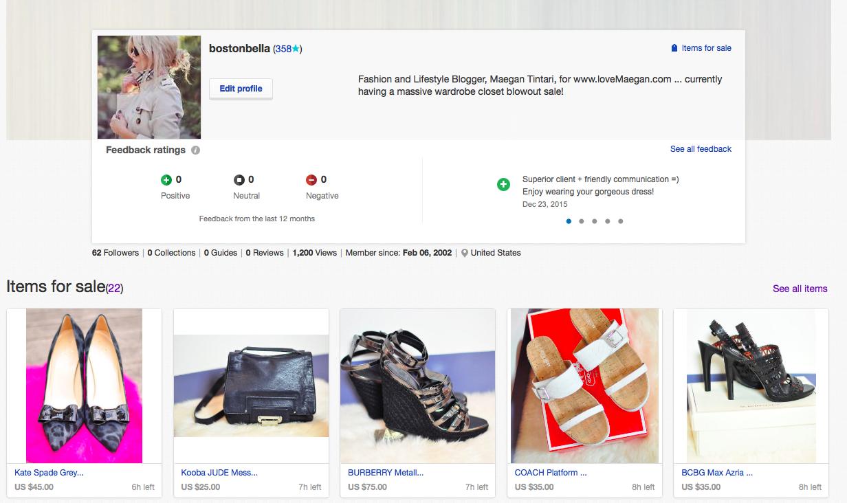 shop blogger's closet on ebay