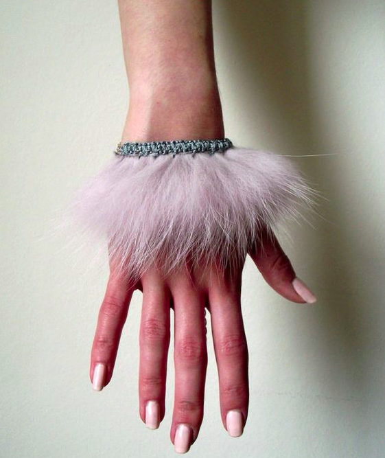 furry pink bracelet cuff