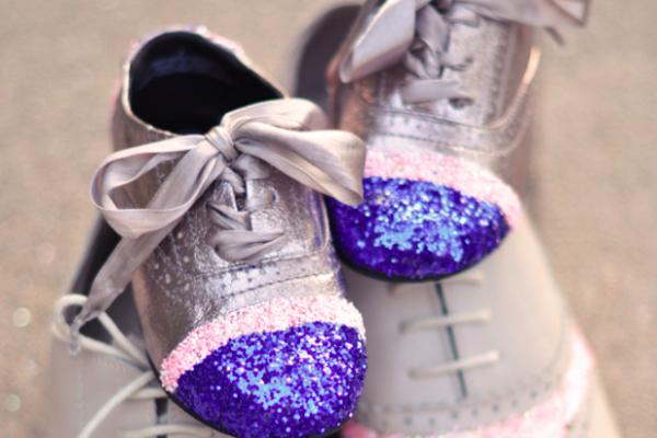 DIY Glitter Cap Toe Shoes for kids