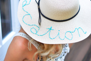 DIY Beaded Catch Phrase Vacation Summer Sun Hat