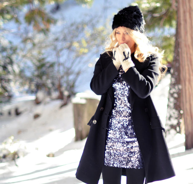 Sequins in the snow-vintage pea coat
