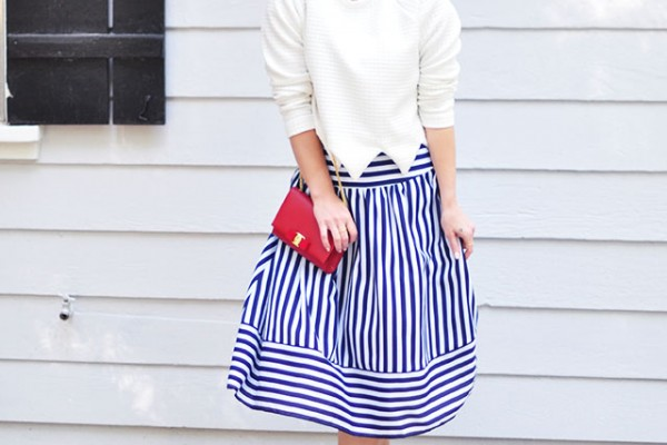 Striped midi skirt_50s modern look
