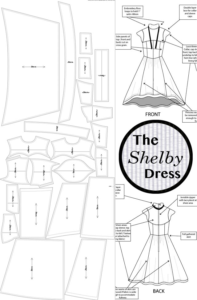 The Shelby Dress_Design Details_Pattern layout
