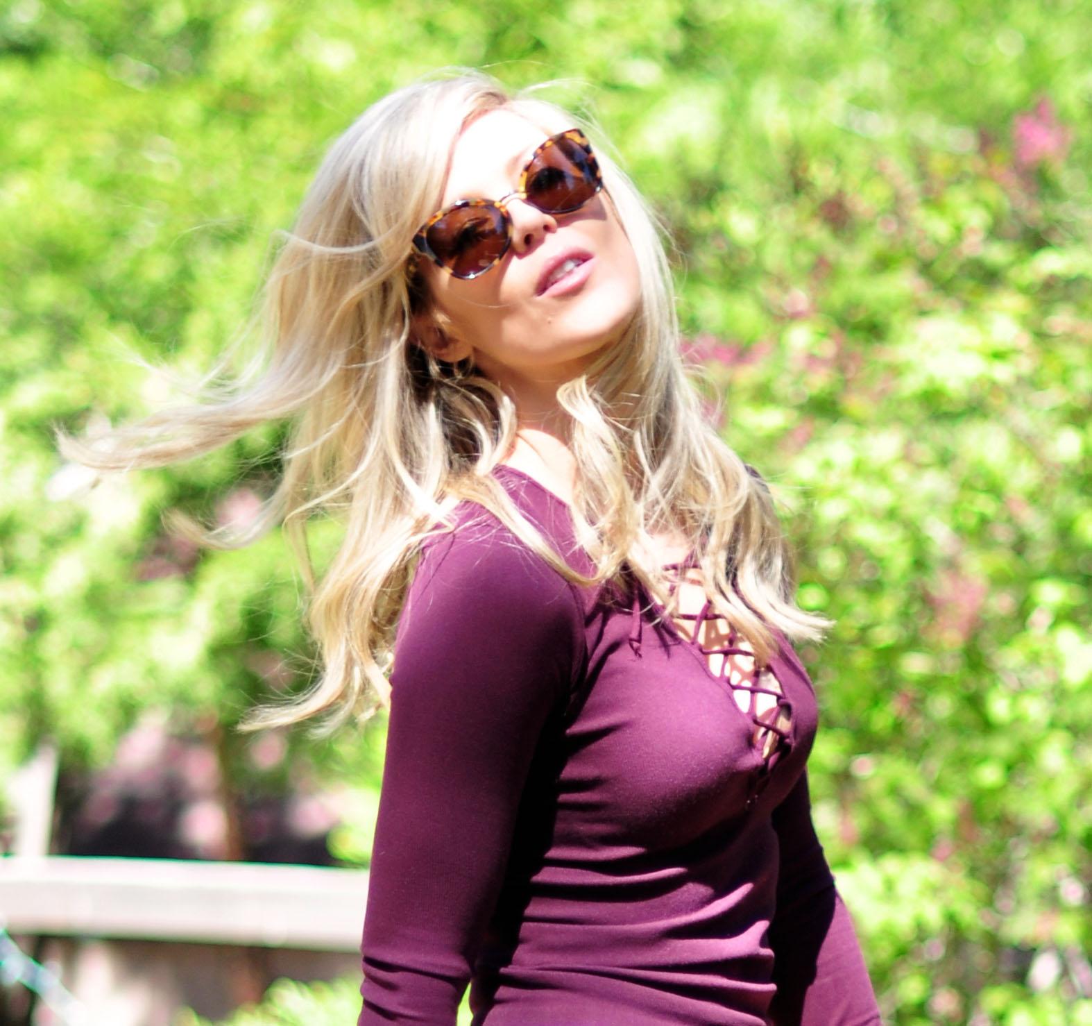 Wine lace up top_blonde hair_Phillip Lim sunglasses