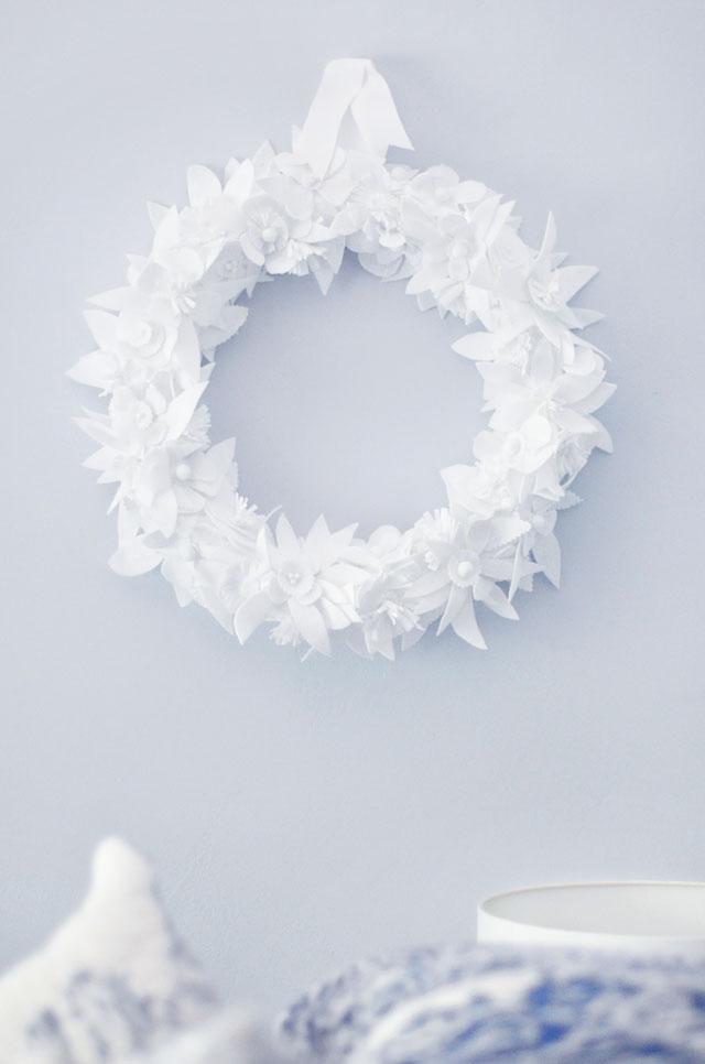 Winter white floral wreath