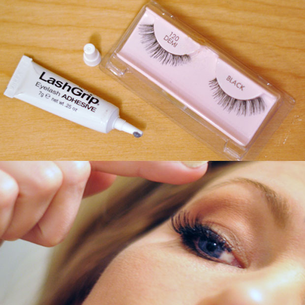 adding false eyelashes