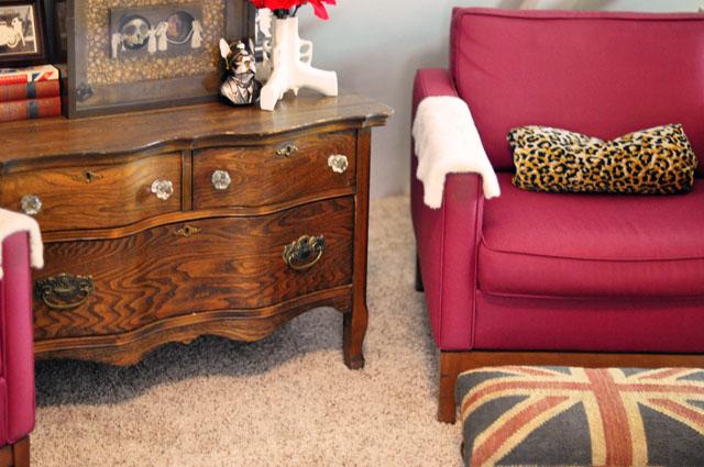 antique dresser-mid century modern chairs