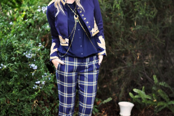 band leader look  - gold and navy - plaid pants-1