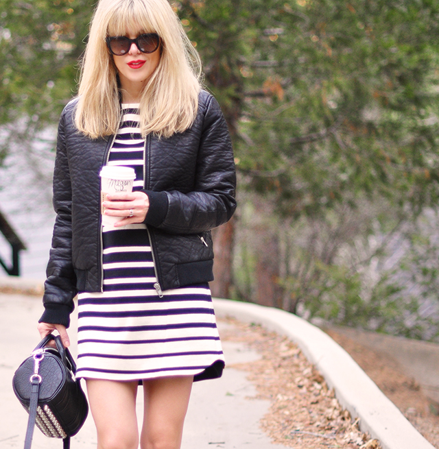black and white outfit _stripes+leather bomber+red lips