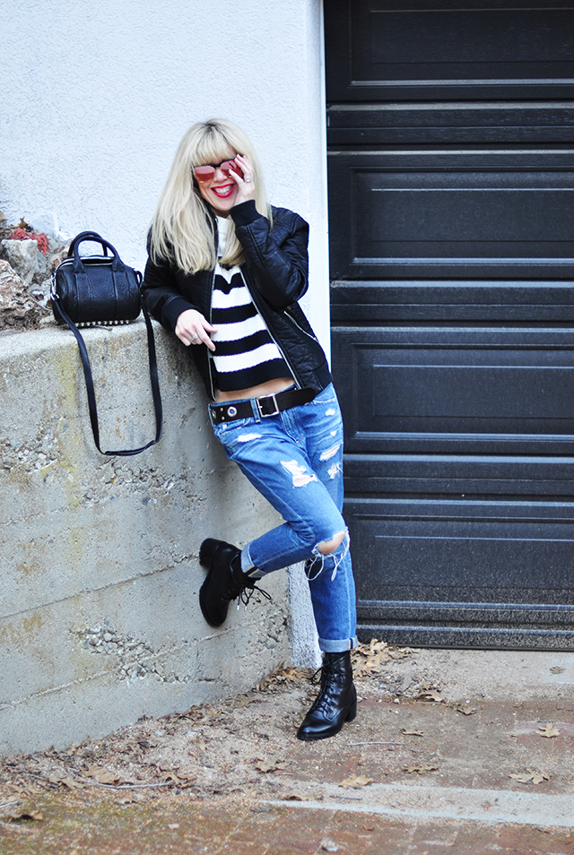 black and white outfit_boyfriend jeans