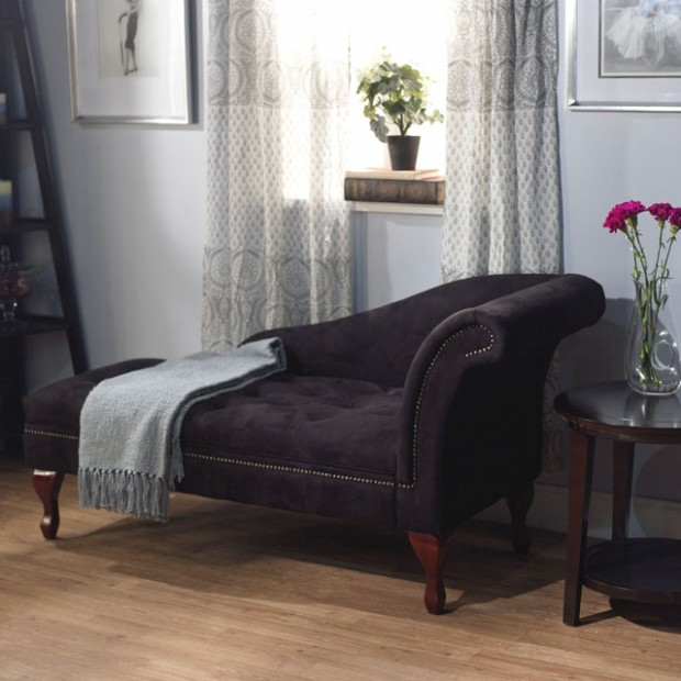 black chaise lounge with storage