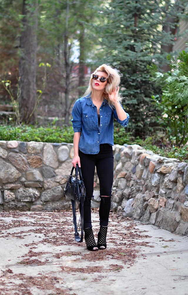 denim shirt + black jeans