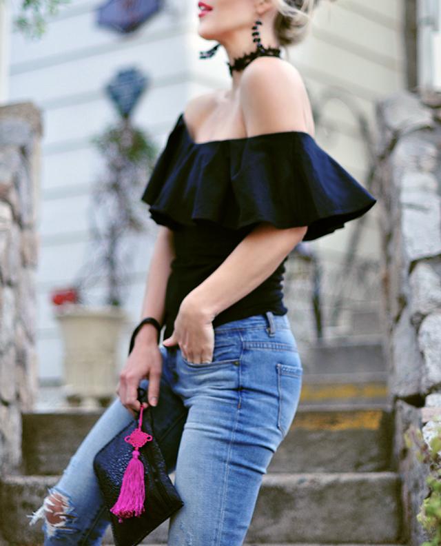black off the shoulder top _pink tassel