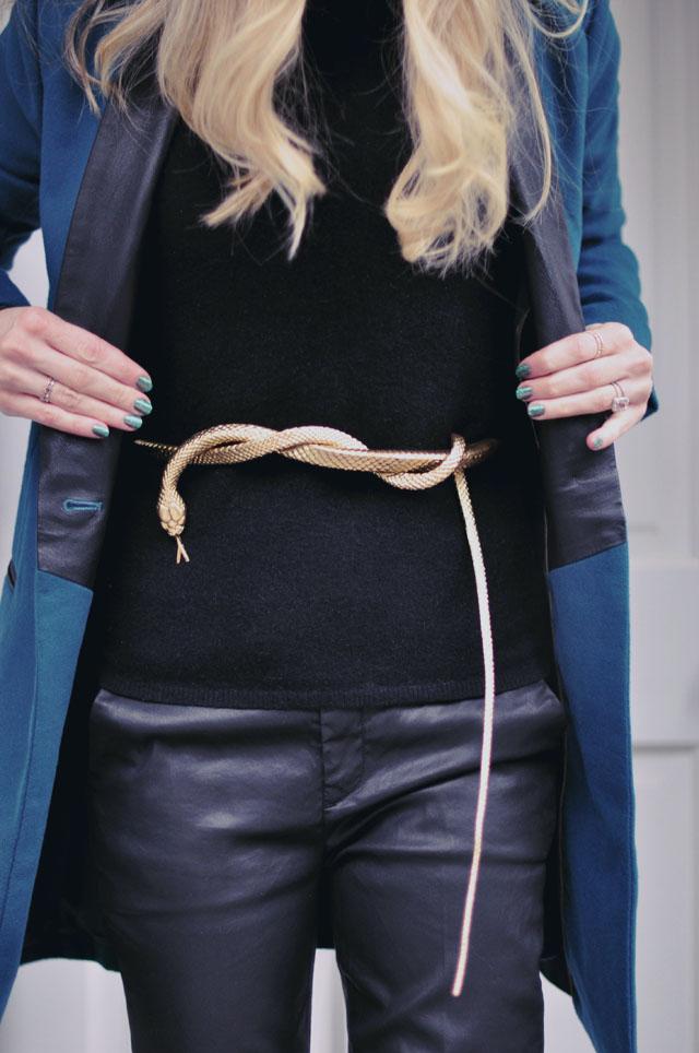 black on black - mixed textures -snake belt