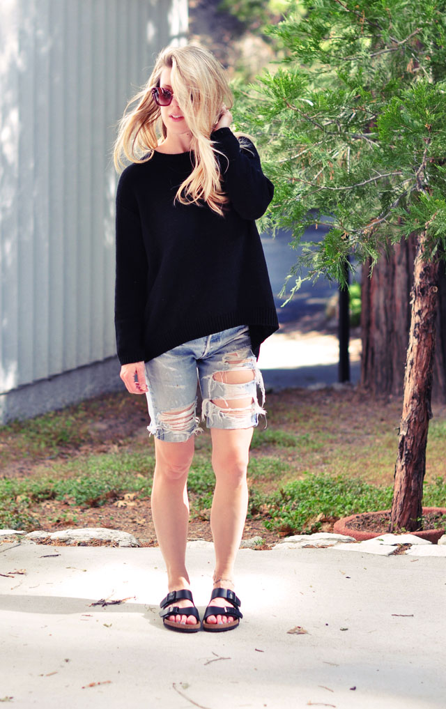 black sweater - ripped levis long jean shorts