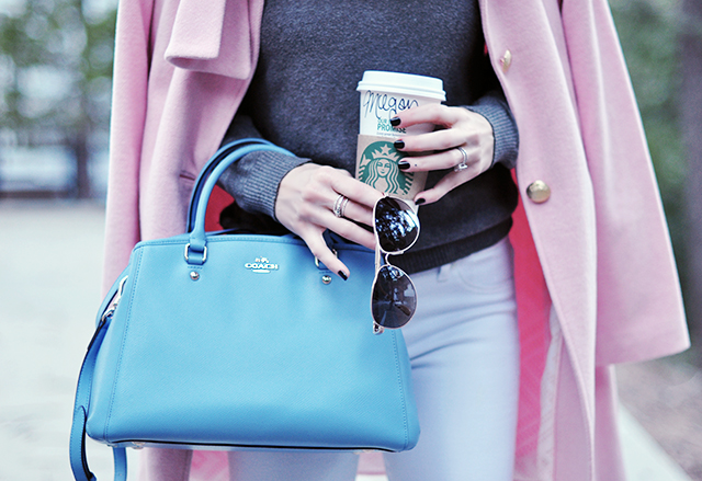 blue coach bag_pink coat 1