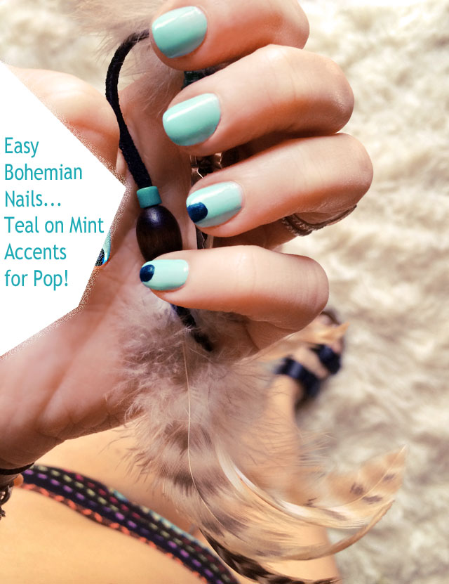 bohemian nails mint and teal