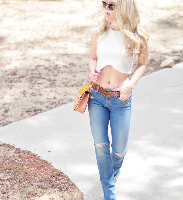 bootcut flare jeans_crop top _chloe drew bag