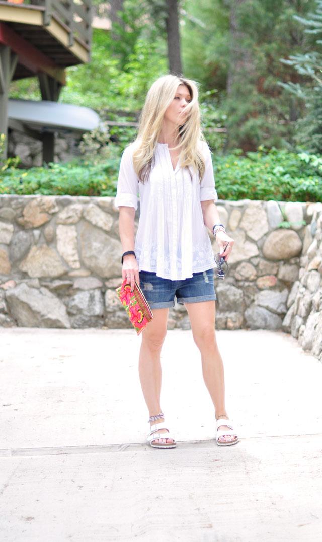 boyfriend shorts-white birkenstocks