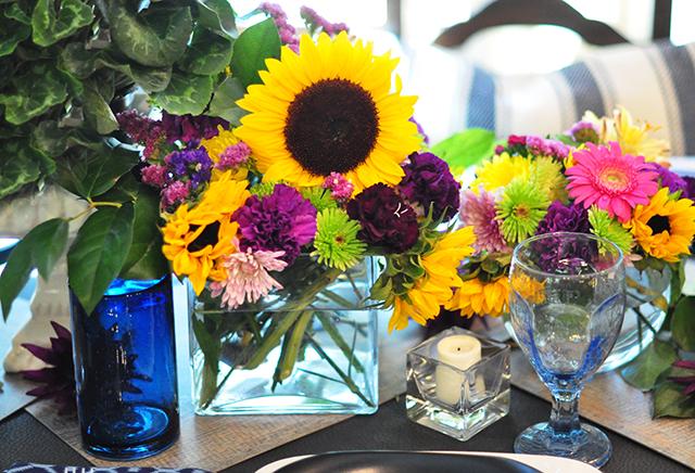 bright floral tablescape centerpiece