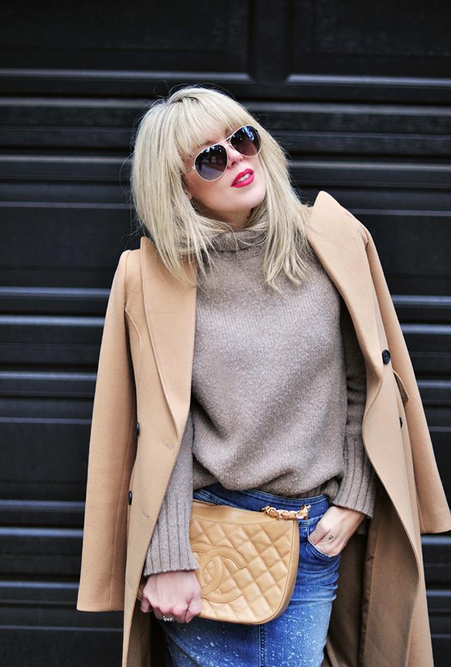 camel coat_chanel bag_ denim skirt_red lips