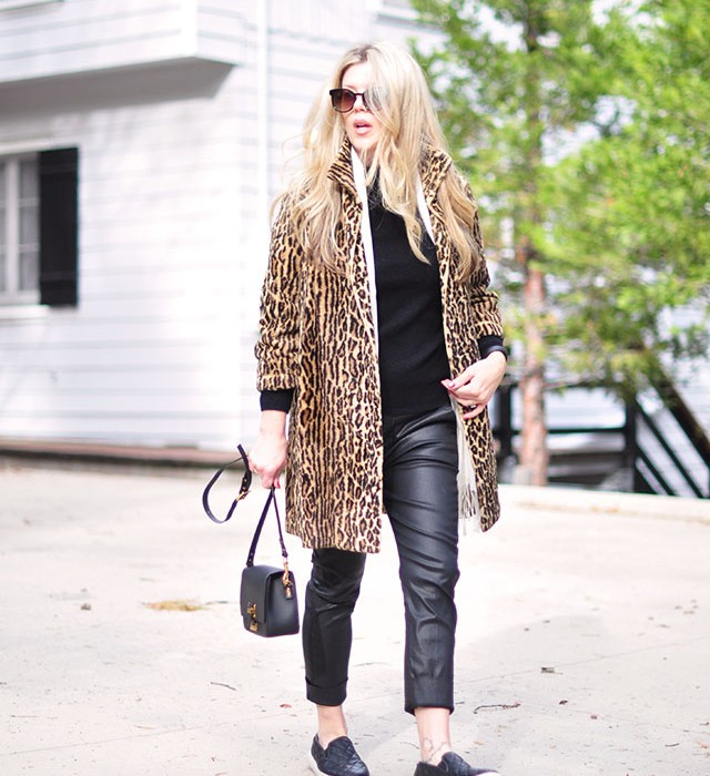 casual fancy leopard coat with black leather