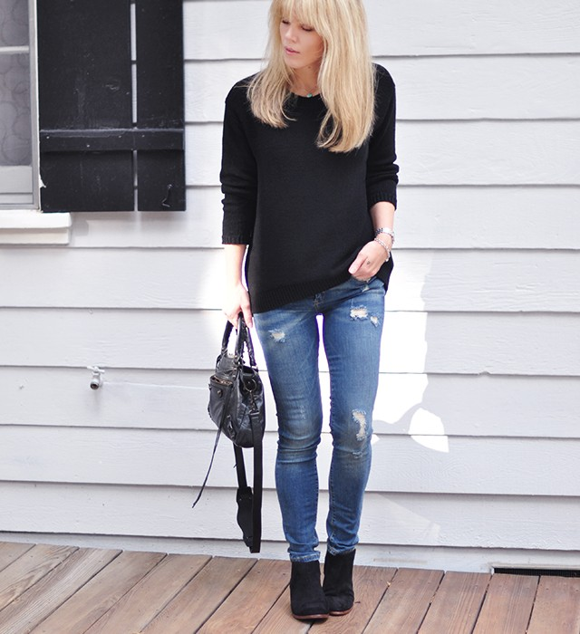 casual jeans and a sweater+boots