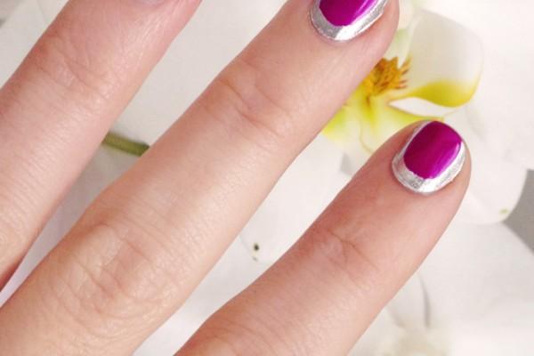 chanel nails-silver nails-silver pink nails