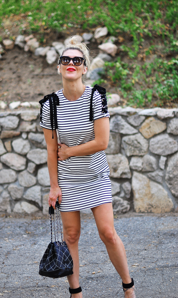 summer style, striped t-shirt dress, chanel bag, red lips