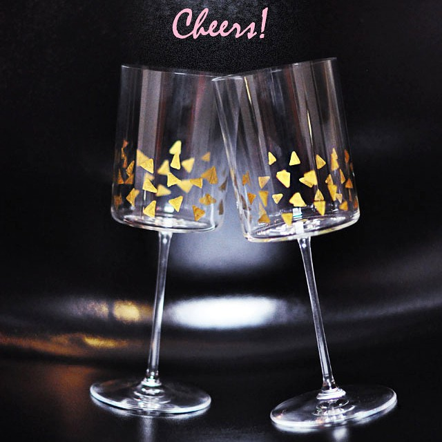 cheers gold accented glasses