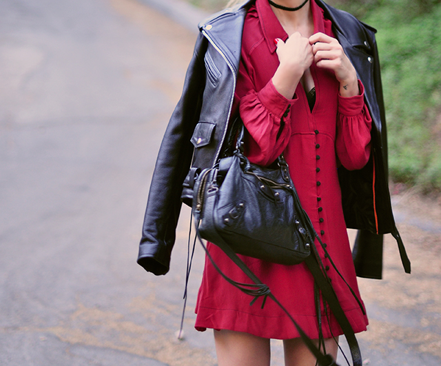 classic-biker-jacket_red-dress_balenciaga-bag