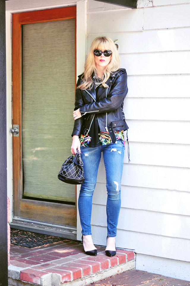 classic casual jeans and leather jacket