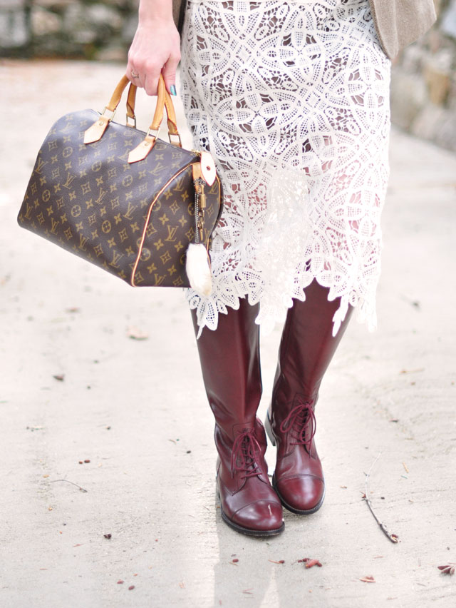classic louis vuitton speedy bag-lace skirt