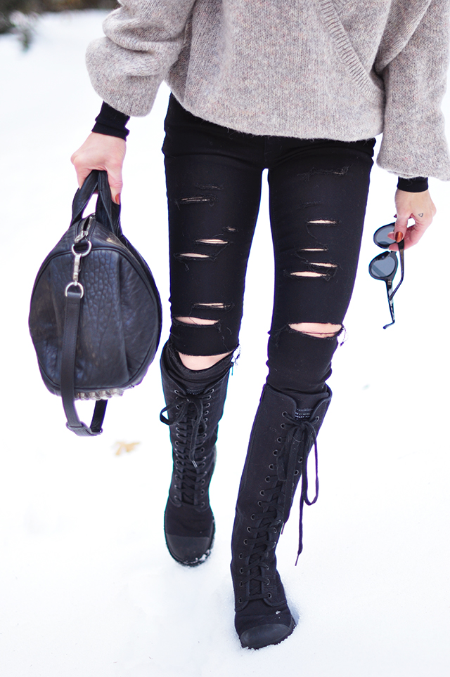 compat boots_alexander wang bag in the snow