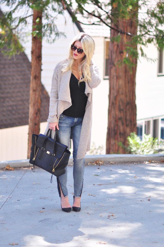 cozy chic -zipper leg jeans-oversized cardigan