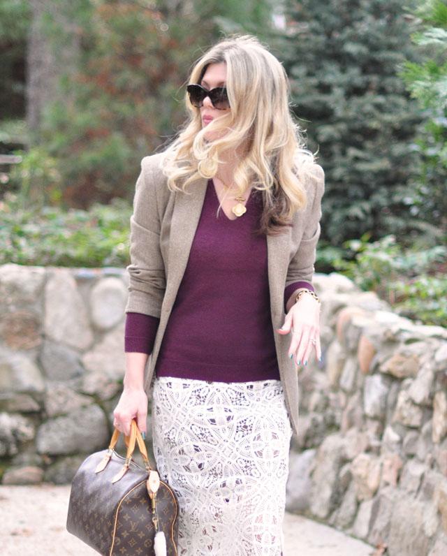 crochet lace skirt-sweater-blazer
