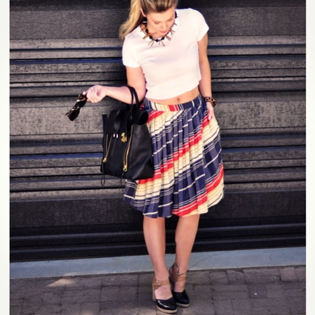 crop top and striped skirt
