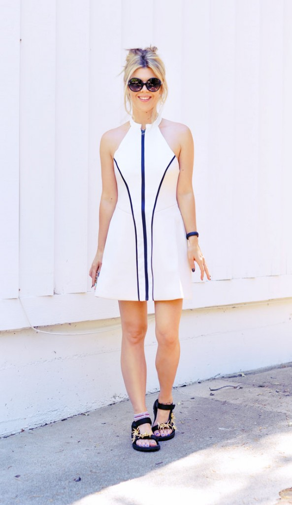 cute and sporty - wetsuit dress and embellished sport sandals