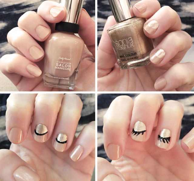 cute closed shimmer eyelash nails