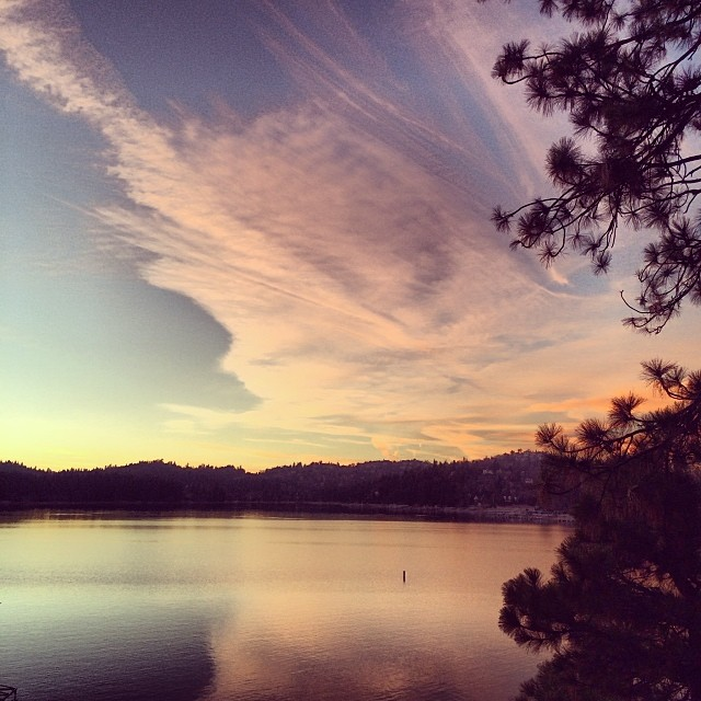 pink sunset & clouds reflecting on the lake