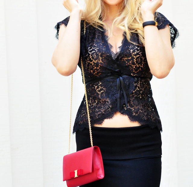 date night outfit - lace top- jersey skirt