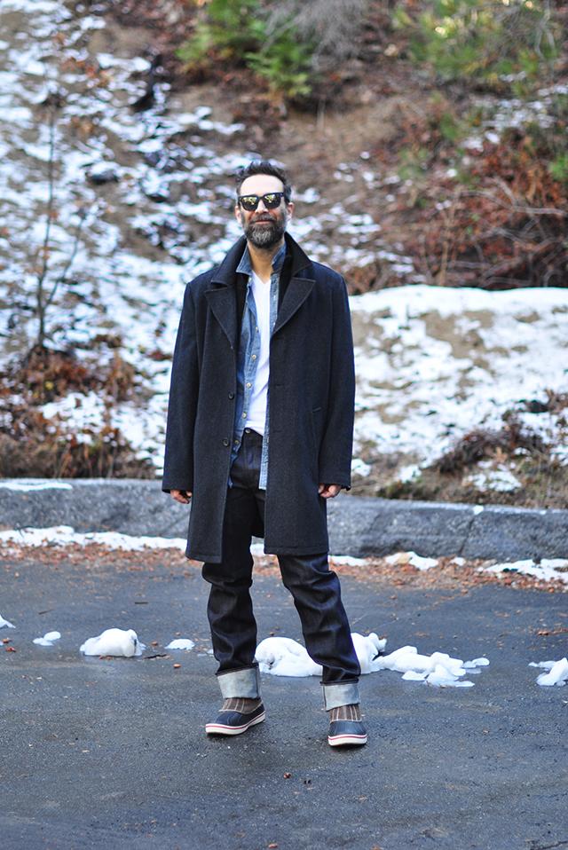 denim on denim menswear look with coat