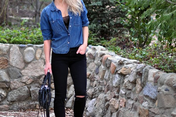 denim shirt_black jeans
