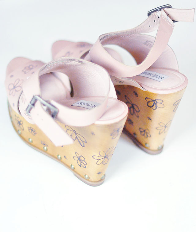 diy flower wedges-wood burn carved floral print