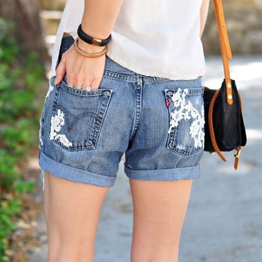 diy lace cut off jean shorts
