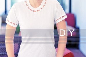 DIY Cut Out T-shirt with Pearl Neck & Sleeves